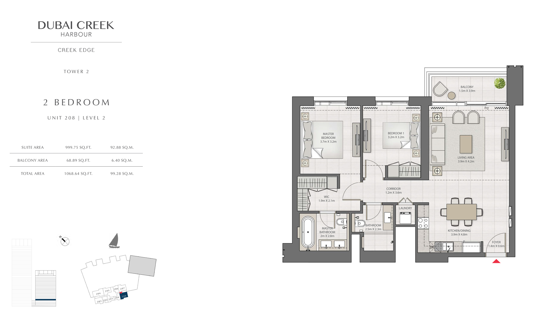 2 Bedroom Tower 2 Unit 208 Level 2 Size 1068 sq.ft
