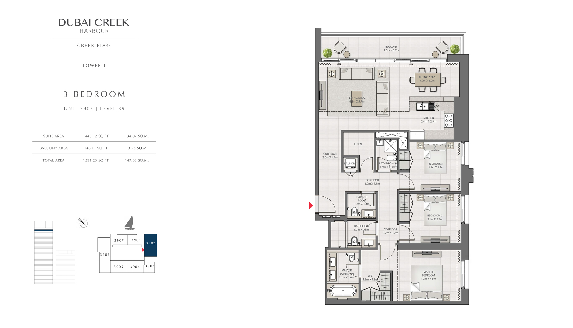 3 Bedroom Tower 1 Unit 3902 Level 39 Size 1591 sq.ft