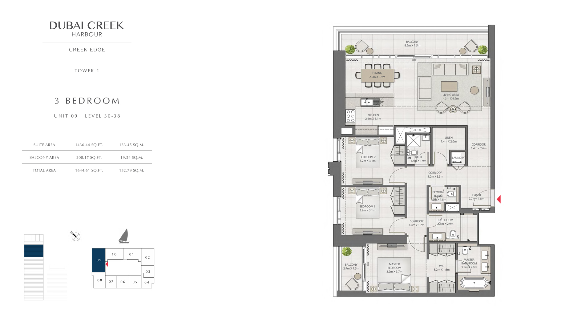 3 Bedroom Tower 9 Unit 1 Level 30-38 Size 1644 sq.ft