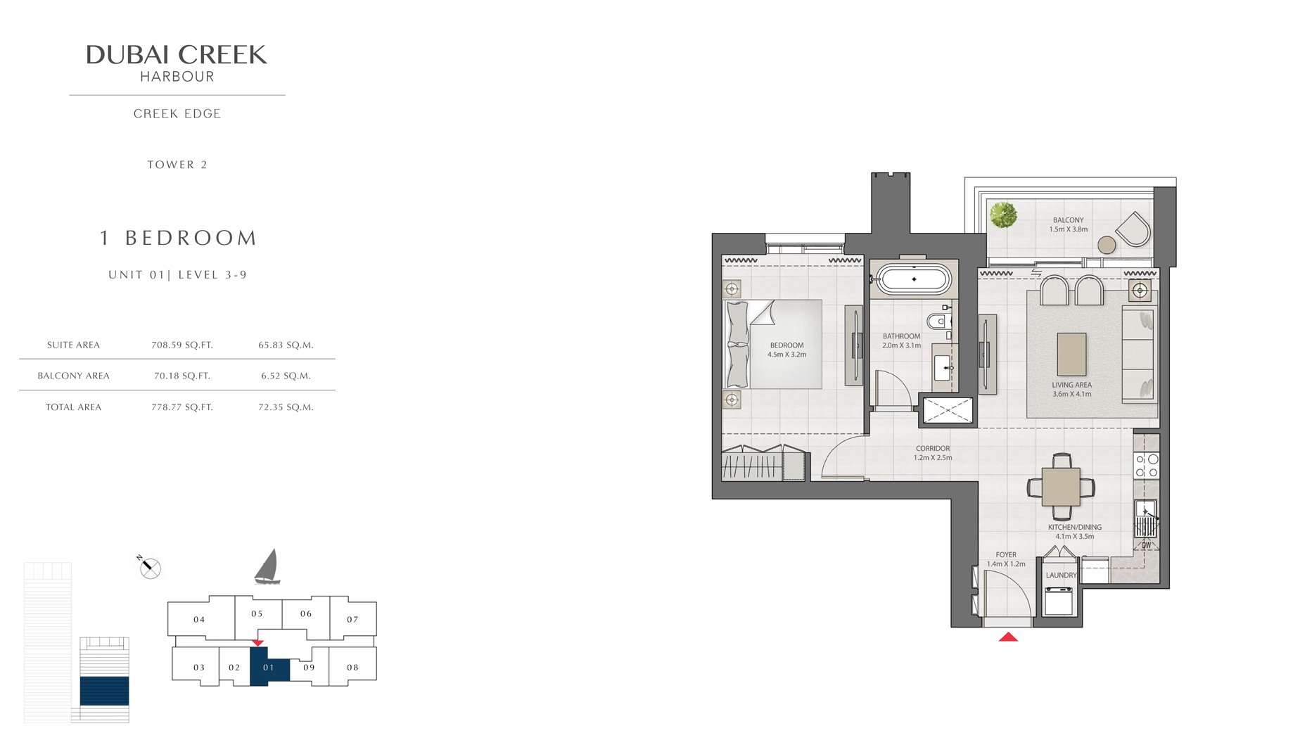 1 Bedroom Tower 2 Unit 01 Level 3-9 Size 778 sq.ft