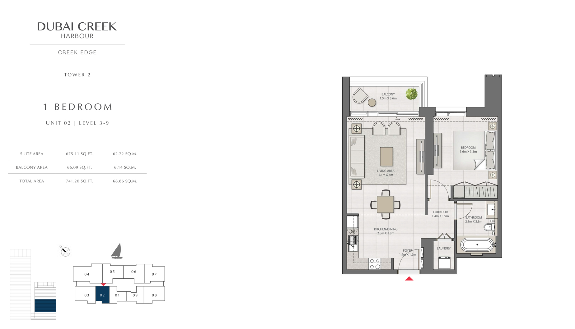 1 Bedroom Tower 2 Unit 02 Level 3-9 Size 741 sq.ft