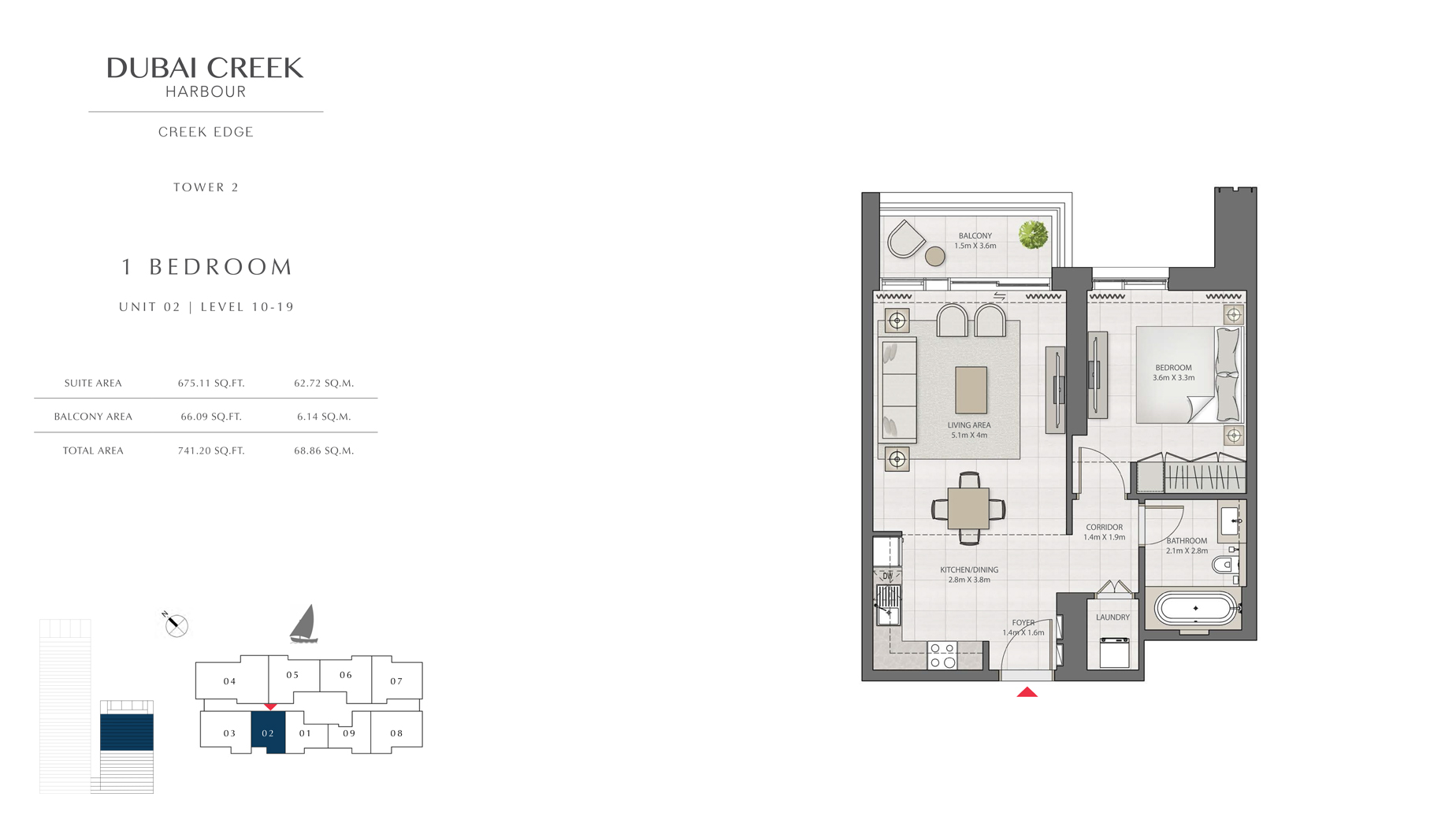 1 Bedroom Tower 2 Unit 02 Level 10-19 Size 741 sq.ft