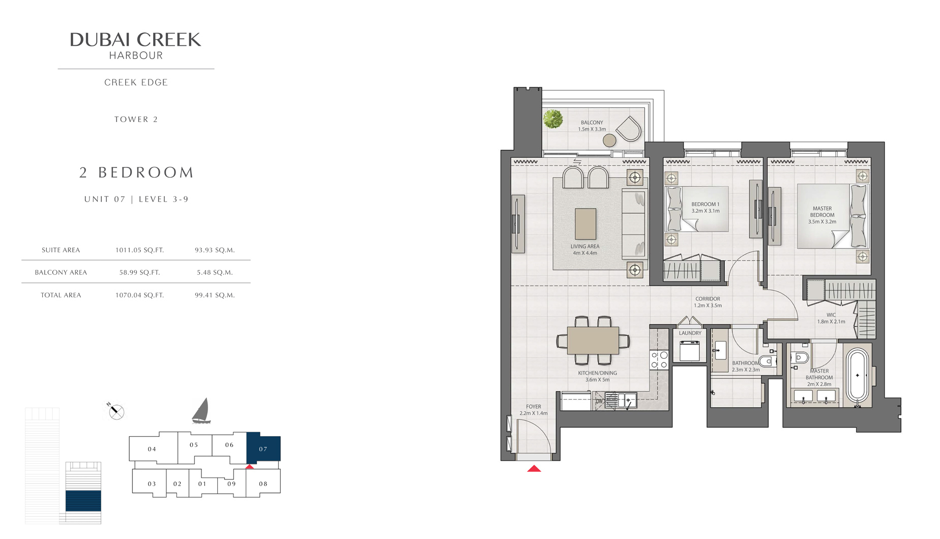 2 Bedroom Tower 2 Unit 07 Level 3-9 Size 1070 sq.ft