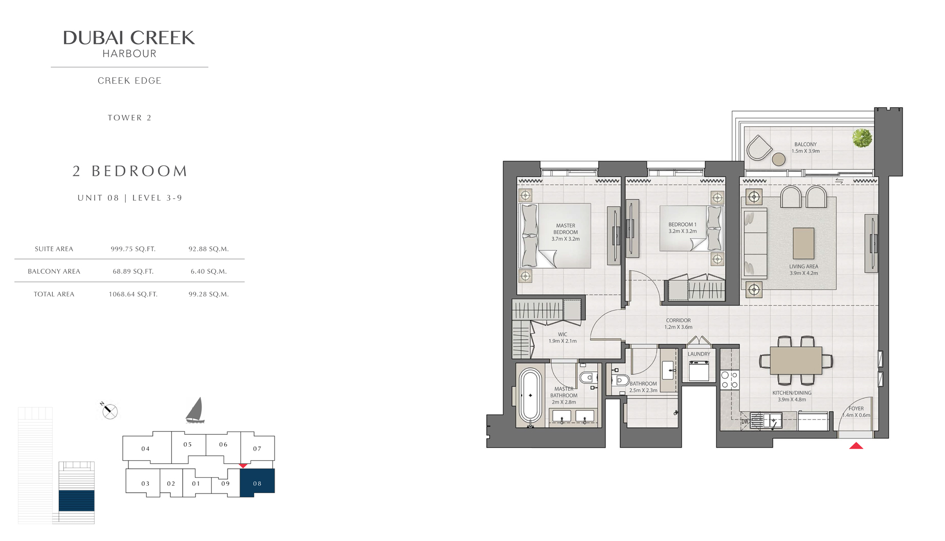 2 Bedroom Tower 2 Unit 08 Level 3-9 Size 1068 sq.ft