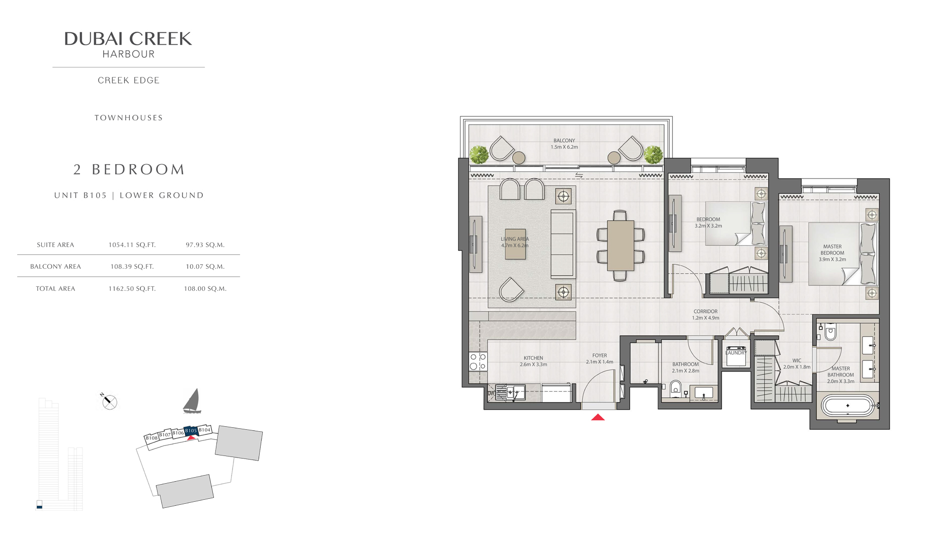 2 Bedroom Townhouses Unit B105 Level G Size 1162 sq.ft