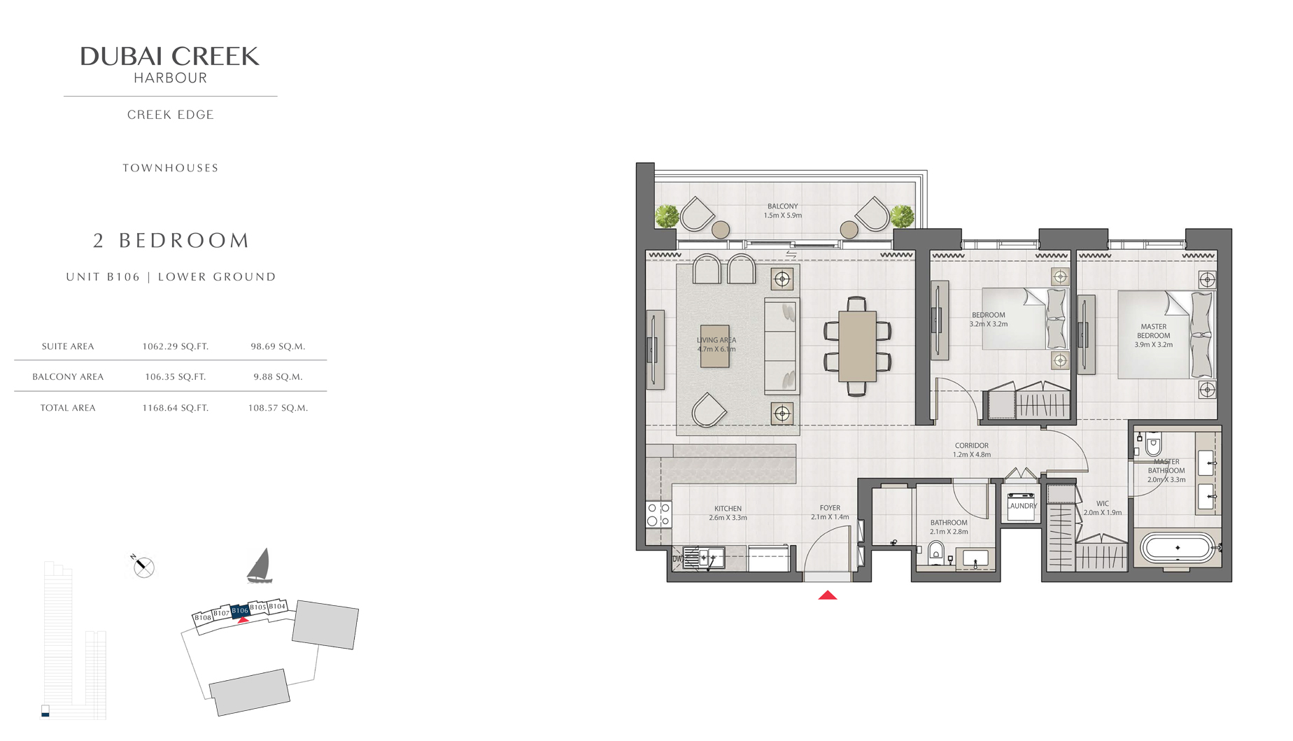 2 Bedroom Townhouses Unit B106 Level G Size 1168 sq.ft