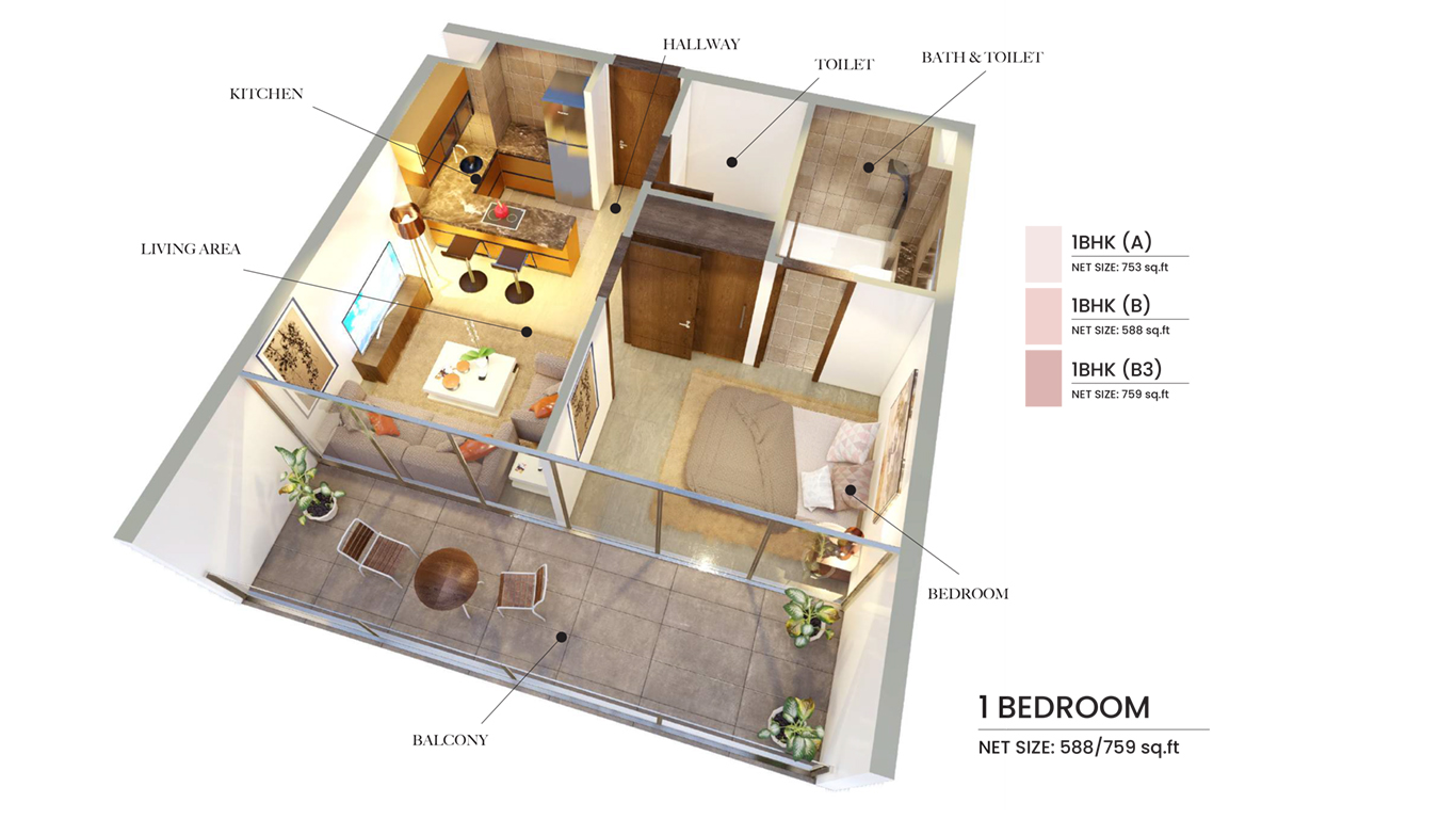 1 Bedroom Type A, B, Size 759 Sq Ft