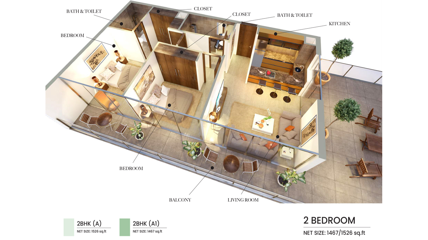 2 Bedroom Type A1, A, Size 1526 Sq Ft
