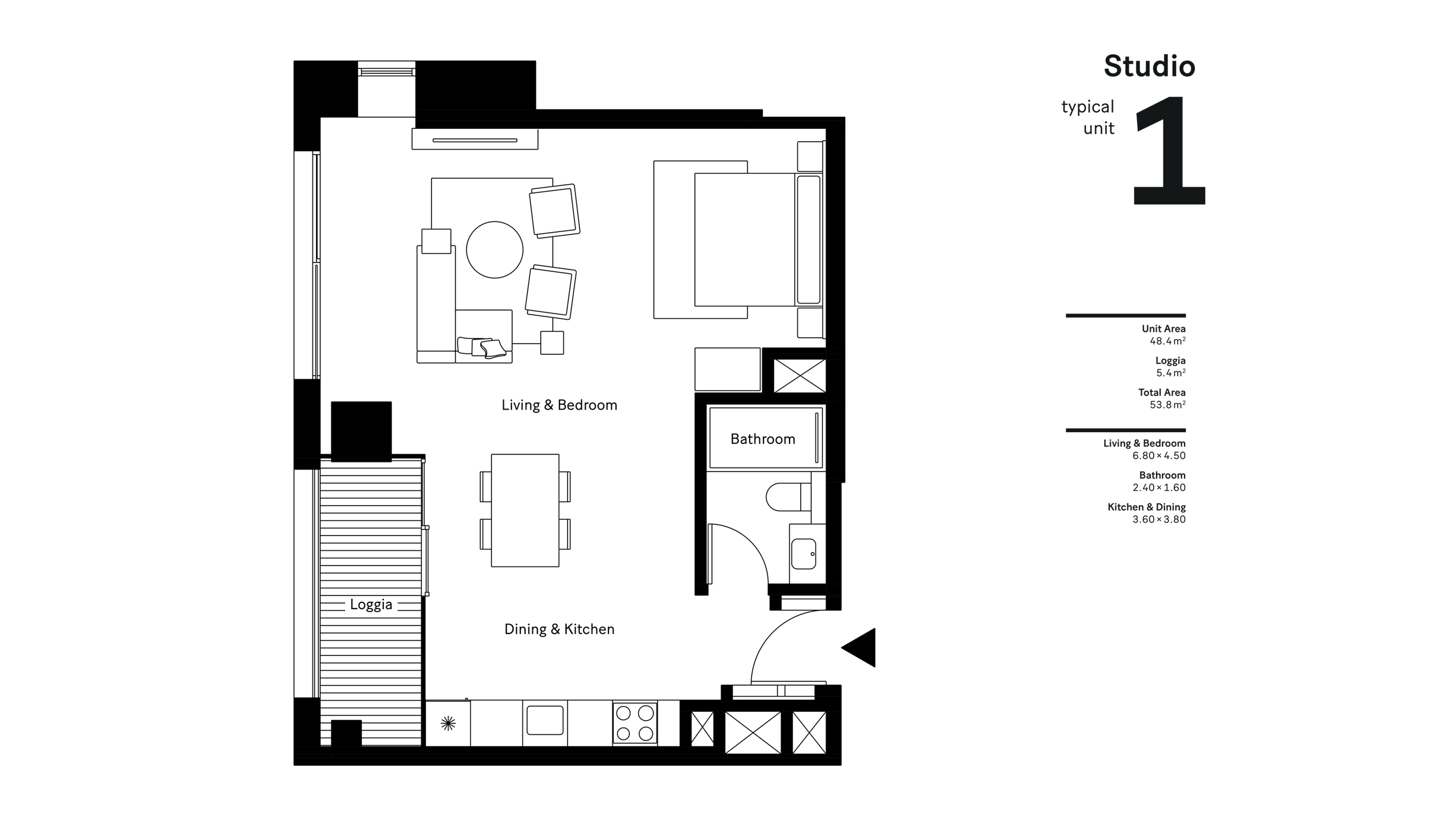 Studio Typical Unit 1, Size 53.8 Sqm
