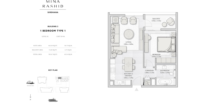 1-Bedroom-Type 1, Building-3, Size-705-Sq-Ft