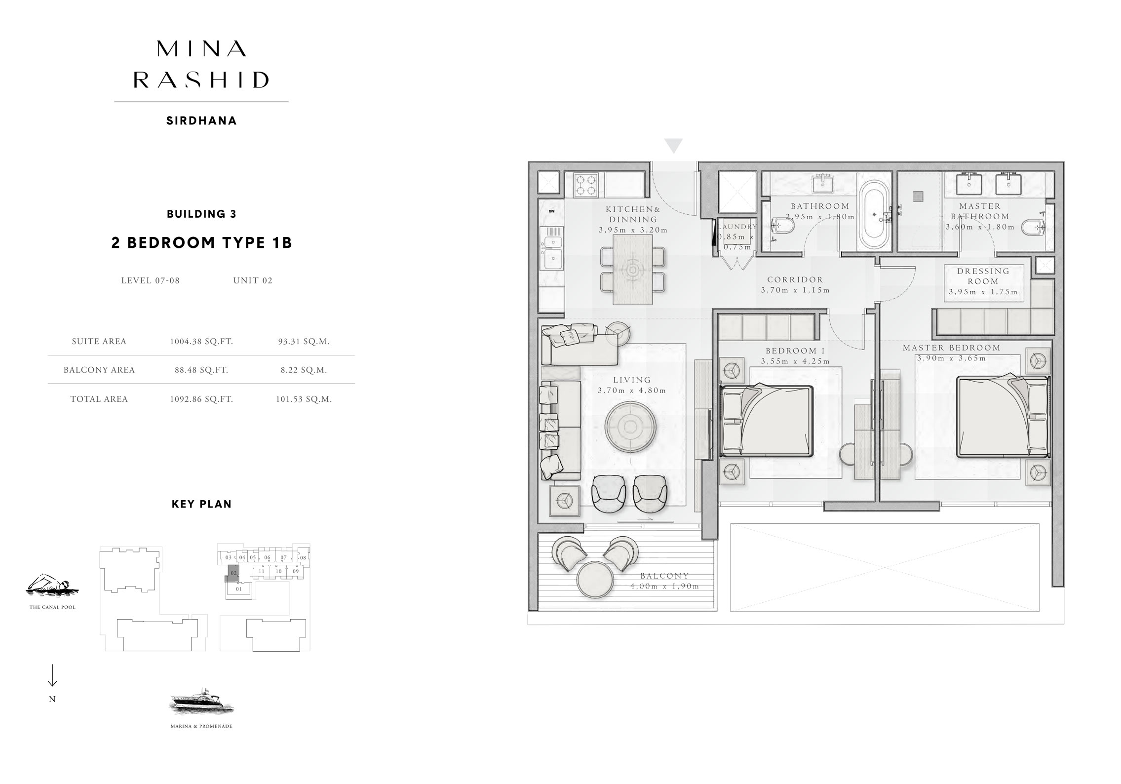 2-Bedroom-Type-1 B, Building-3, Level-7 to 8, Size-1092-Sq-Ft