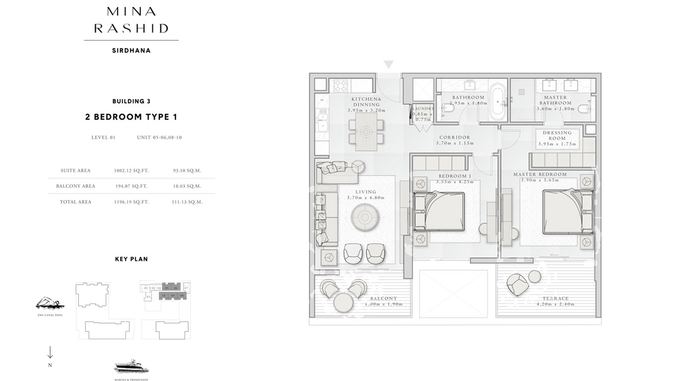2-Bedroom-Type-1, Building-3, Level-1, Size-1196-Sq-Ft