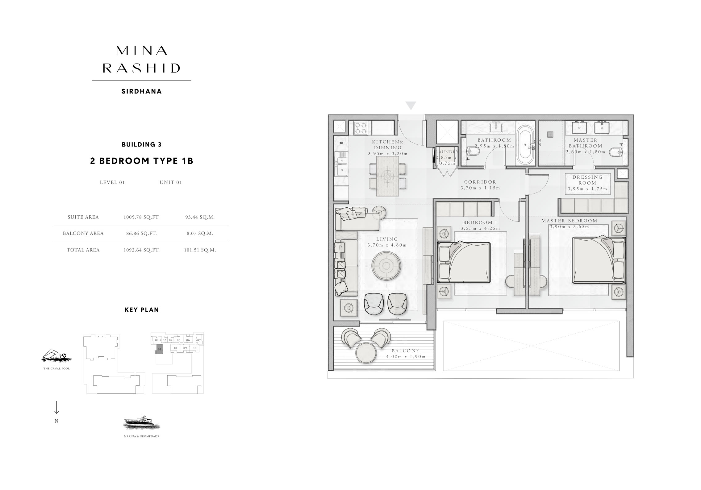 2-Bedroom-Type-1B, Building-3, Level-1, Size-1092-Sq-Ft