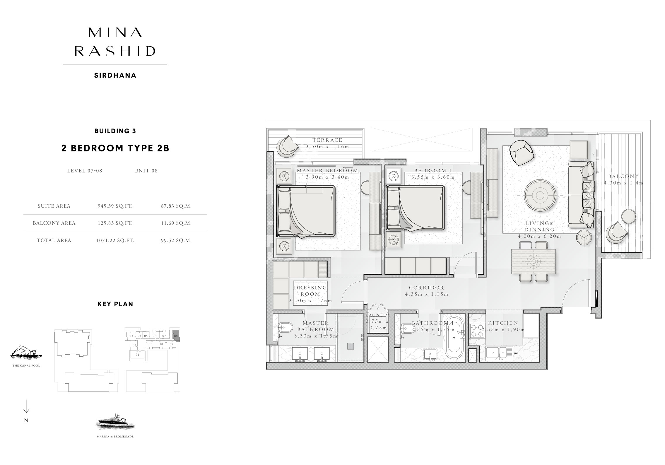 2-Bedroom-Type-2 B, Building-3, Level-7 to 8, Size-1071-Sq-Ft