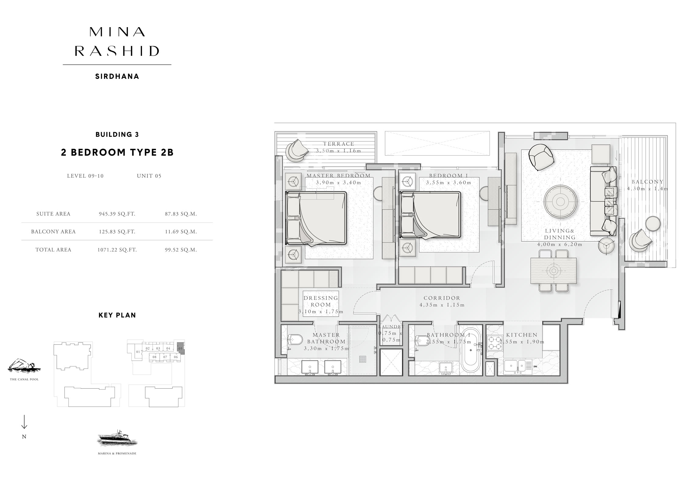 2-Bedroom-Type-2 B, Building-3, Level-9 to 10, Size-1071-Sq-Ft