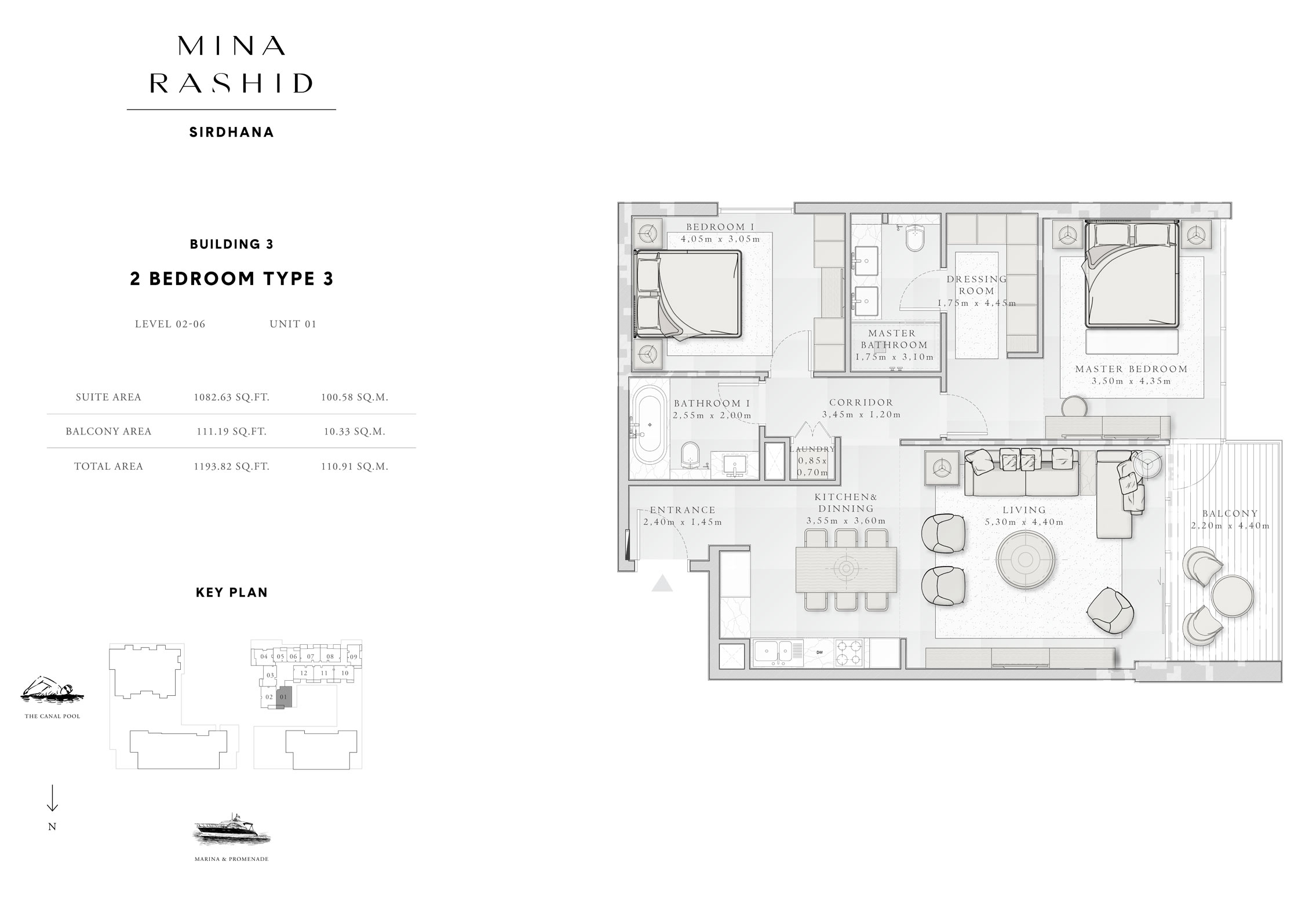 2-Bedroom-Type-3, Building-3, Level-2 to 6, Size-1193-Sq-Ft