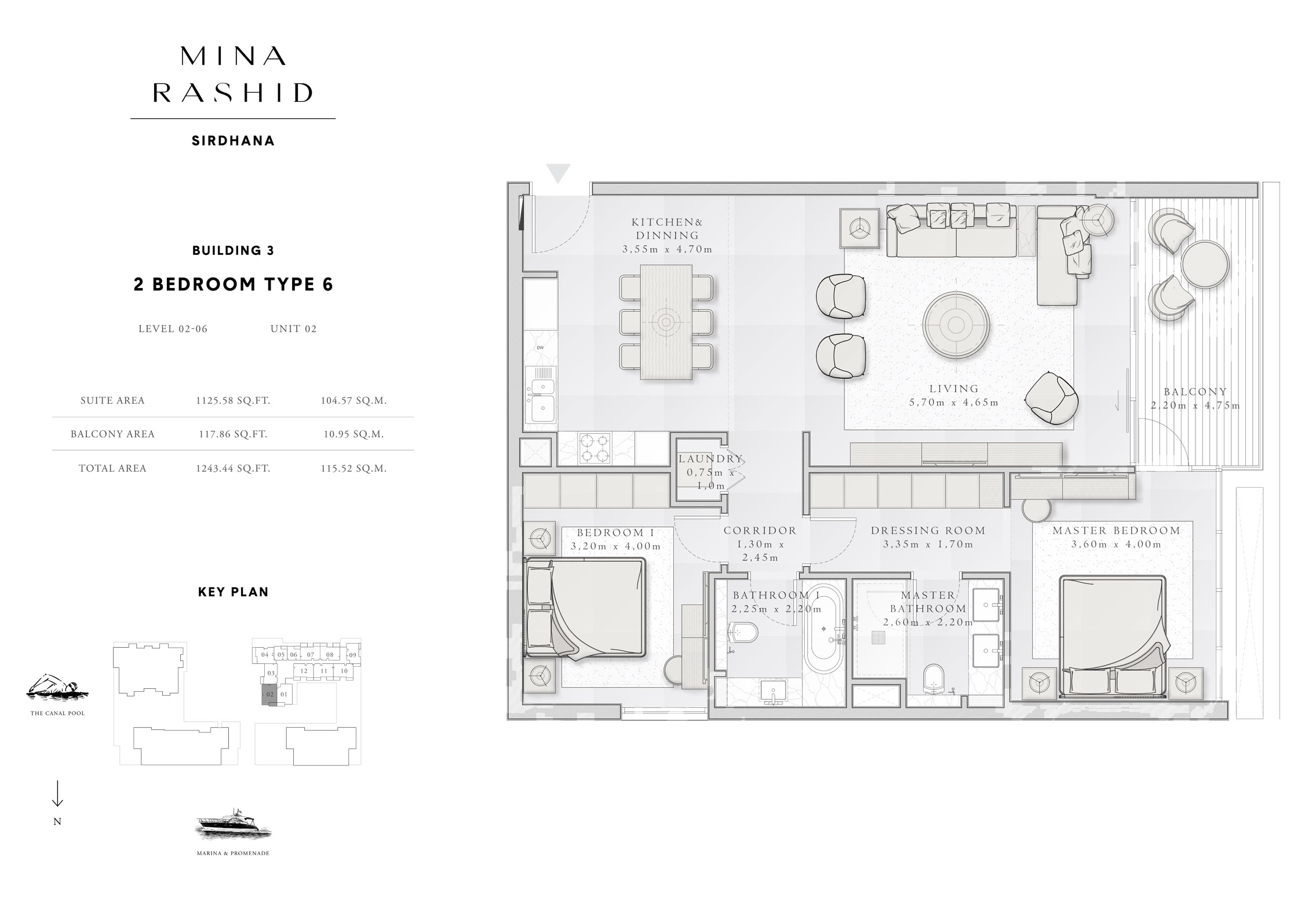 2-Bedroom-Type-6, Building-3, Level-2 to 6, Size-1243-Sq-Ft