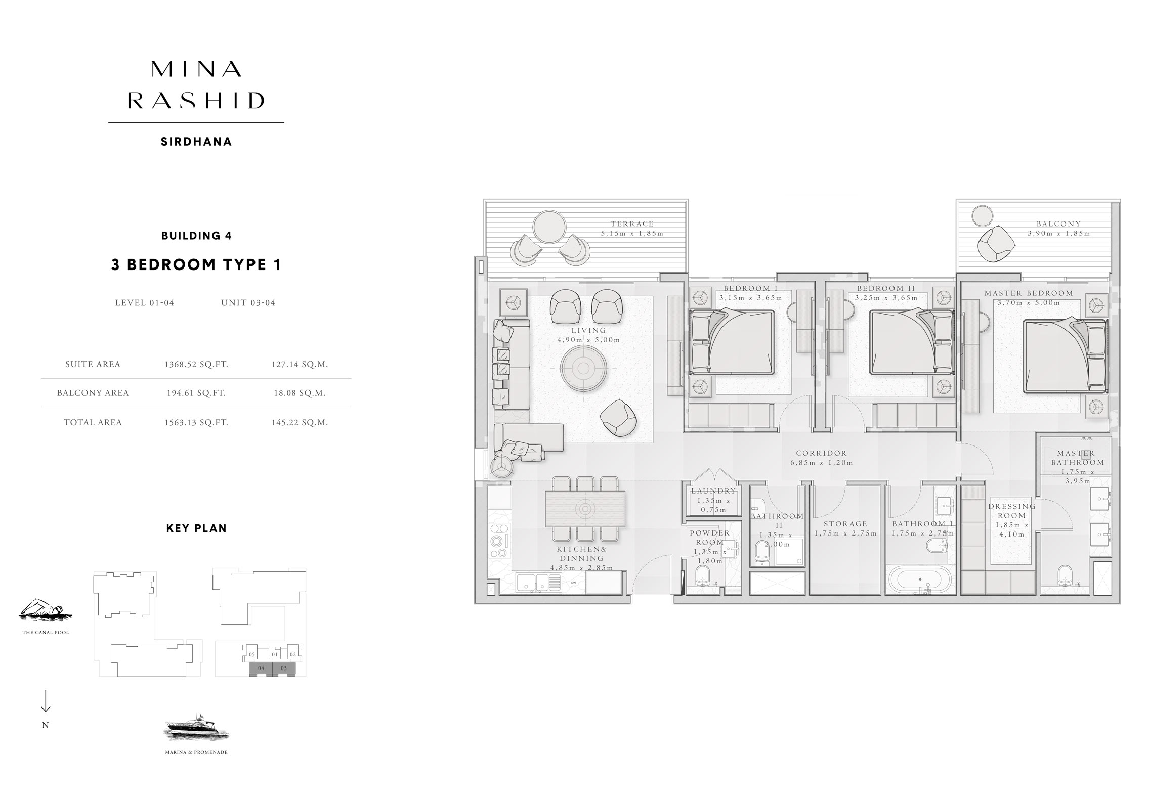 3-Bedroom-Type-1, Building-4, Level-1 to 4, Size-1563-Sq-Ft