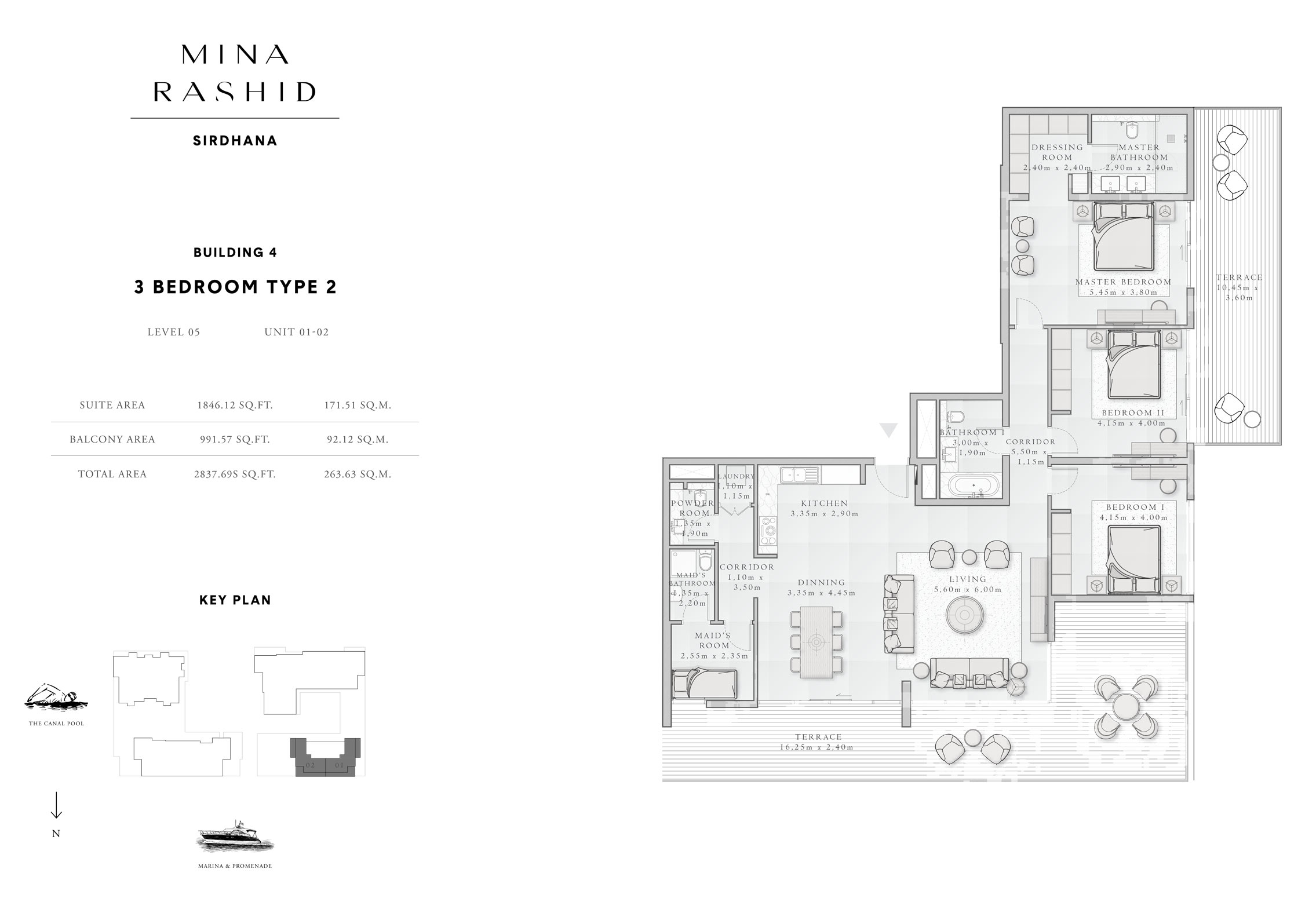 3-Bedroom-Type-2, Building-4, Level-5, Size-2837-Sq-Ft