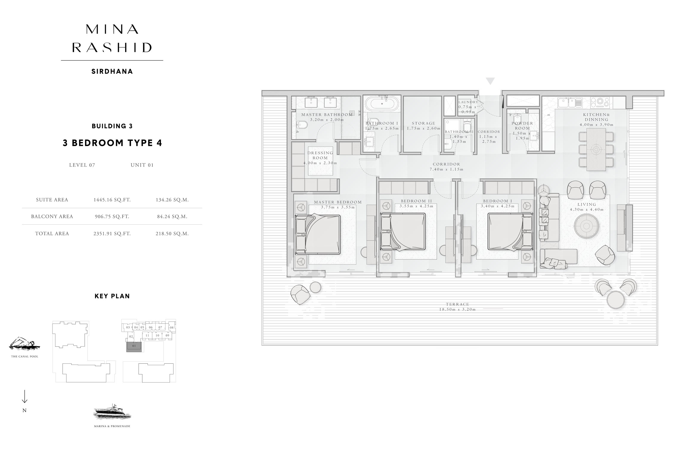 3-Bedroom-Type-4, Building-3, Level-7, Size-2351-Sq-Ft