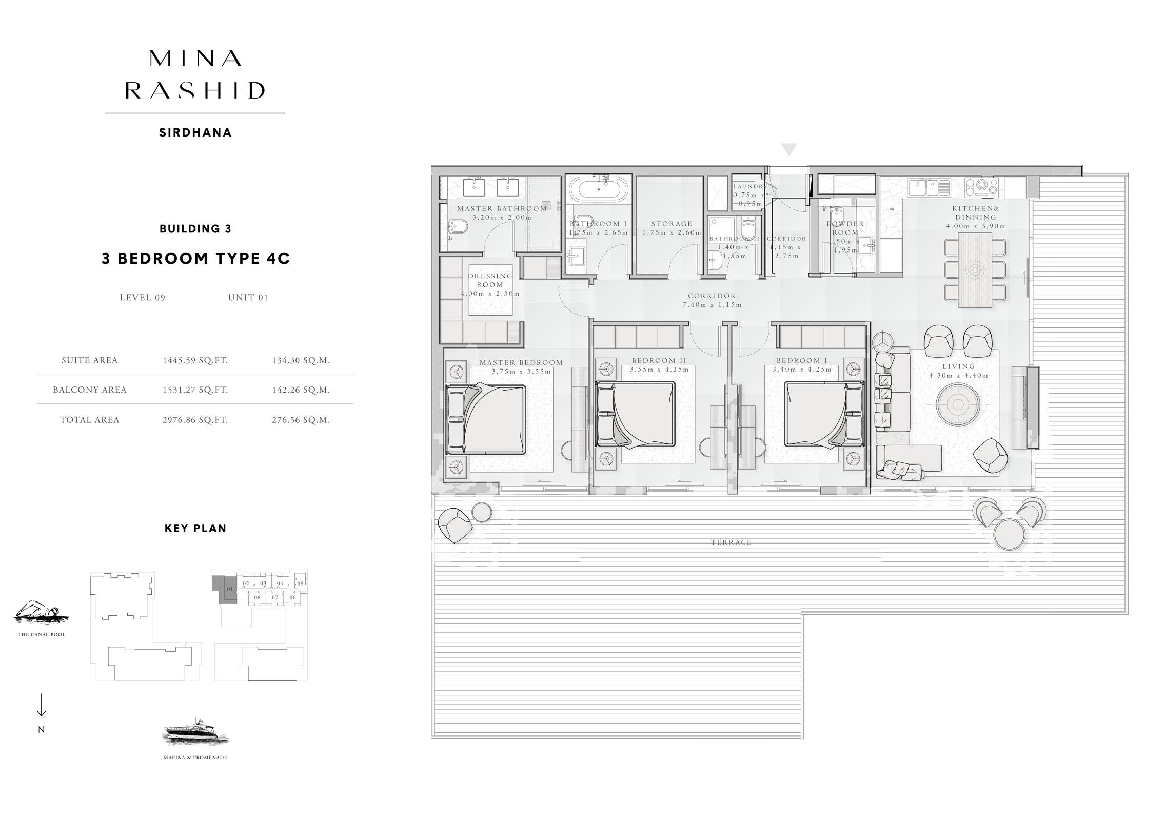 3-Bedroom-Type-4C, Building-4, Level-9, Size-2976-Sq-Ft