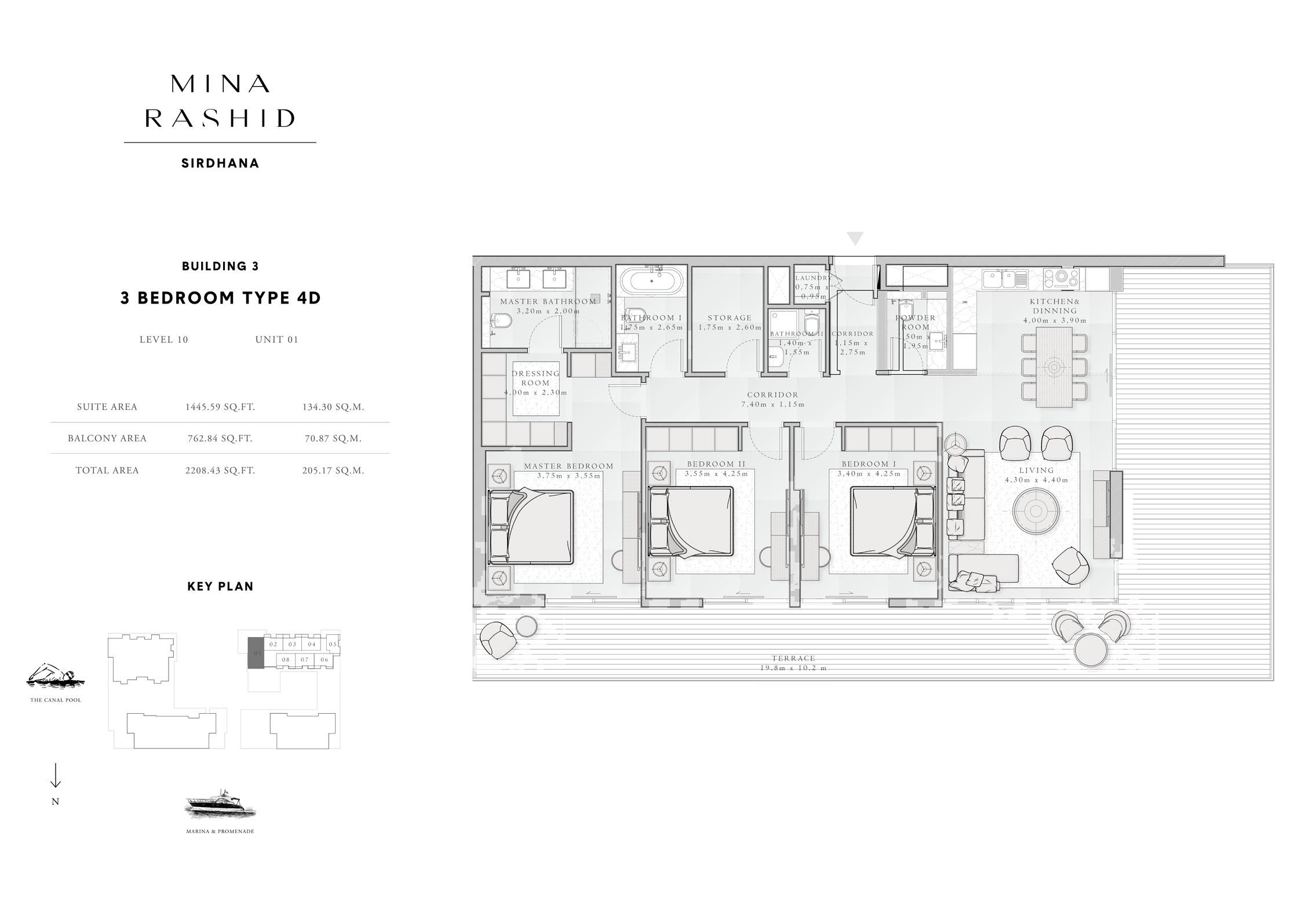 3-Bedroom-Type-4D, Building-4, Level-10, Size-2208-Sq-Ft