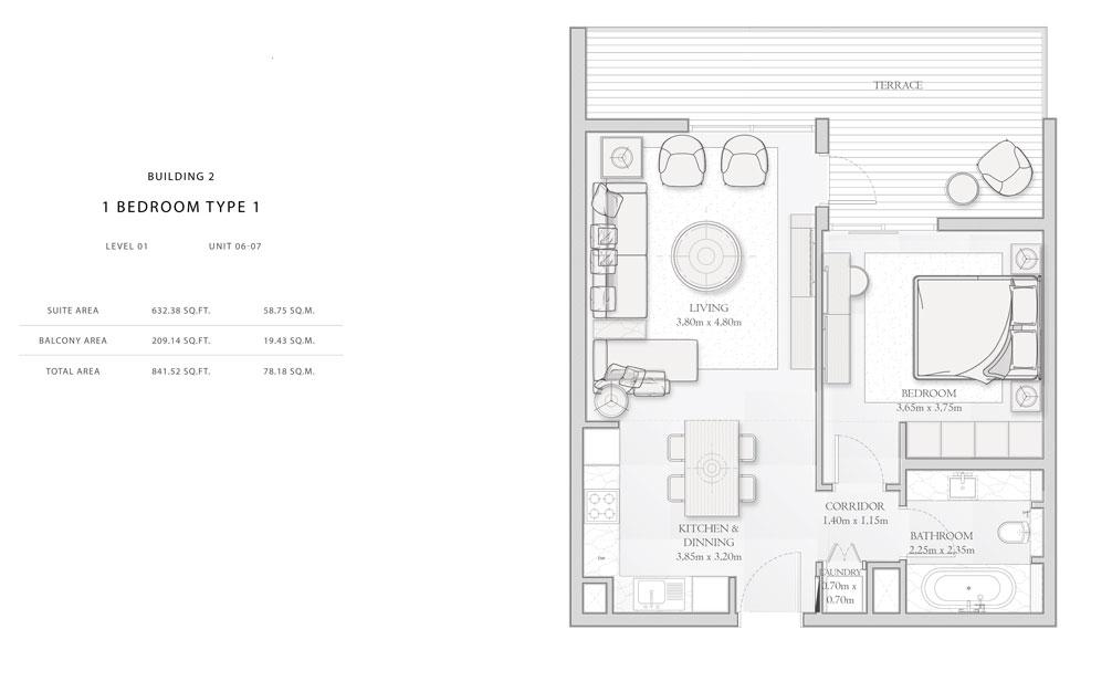 Building-2,1-Bedroom-Type-1,Size - 841.52 - sq.ft