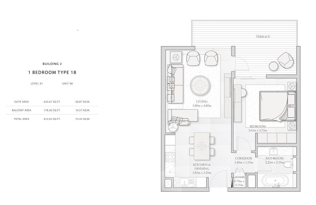 Building-2,1-Bedroom-Type-1B,Size - 812.03 sq.ft