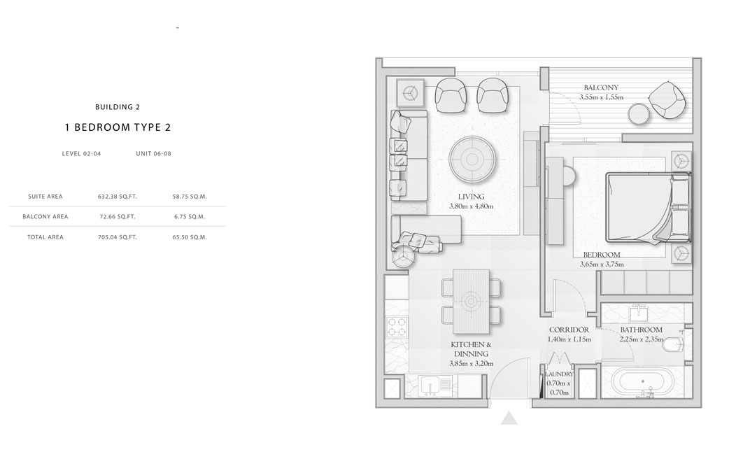 Building-2,1-Bedroom-Type-2,Size - 705.04 - sq.ft