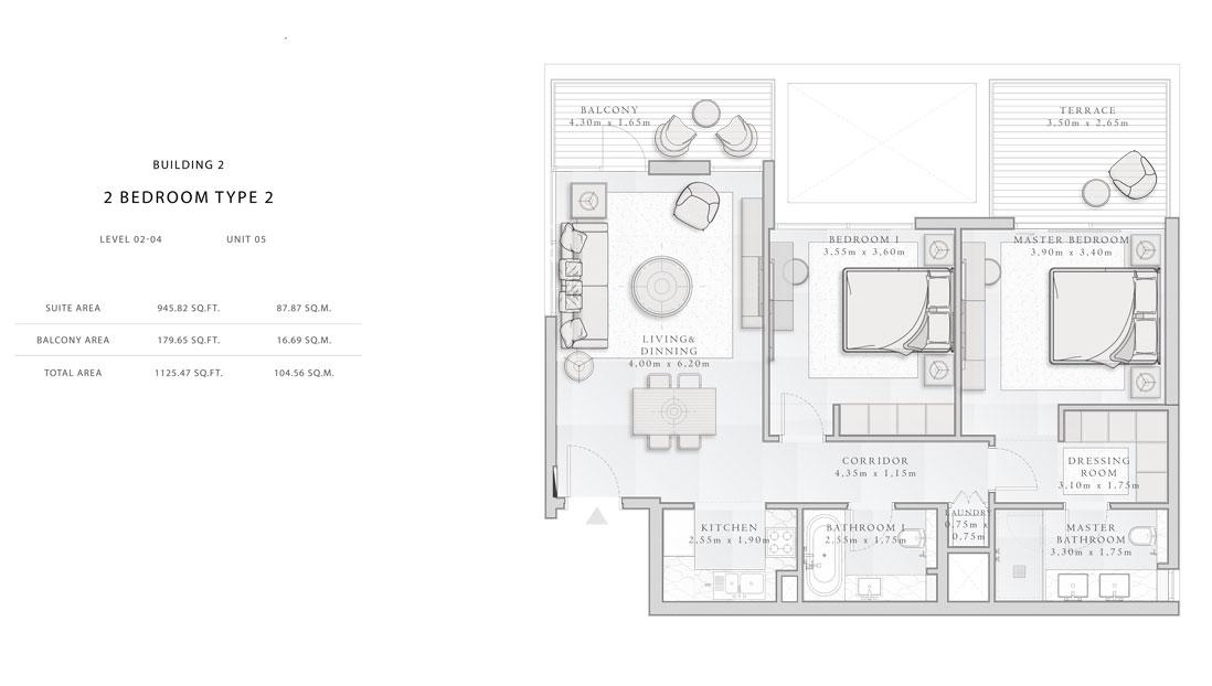 Building-2,2-Bedroom-Type-2,Size -1125.47  sq.ft
