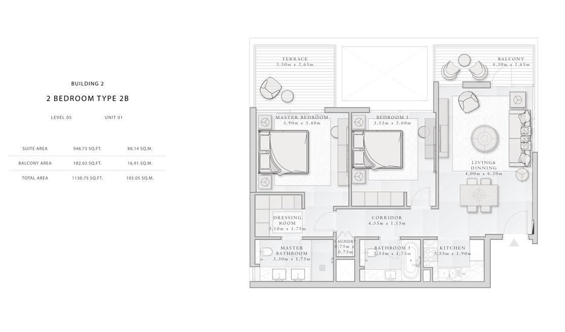 Building-2,2-Bedroom-Type-2B,Size -1130.75 - sq.ft