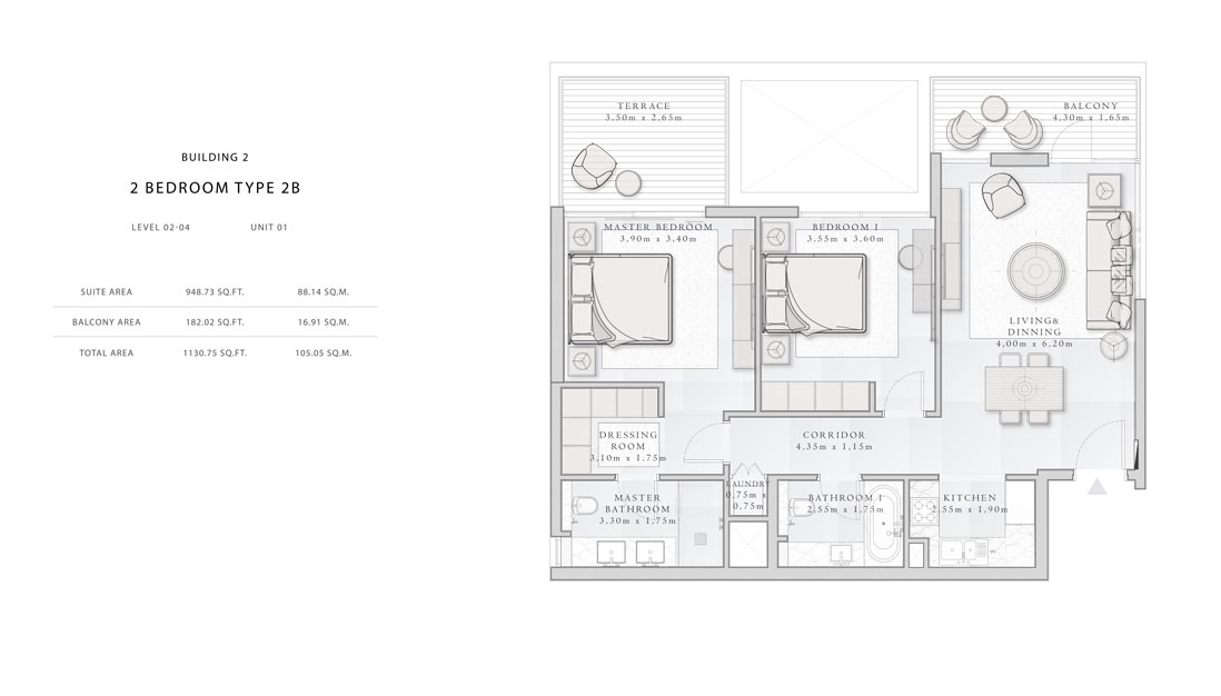 Building-2,2-Bedroom-Type-2B,Size - 1130.75 - sq.ft
