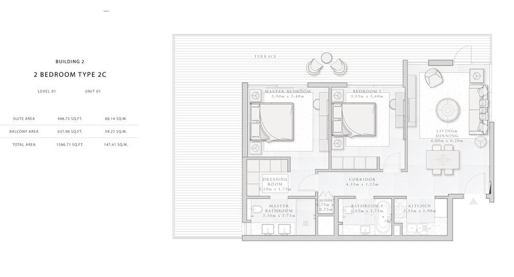 Building-2,2-Bedroom-Type-2C,Size - 1586.71 - sq.ft