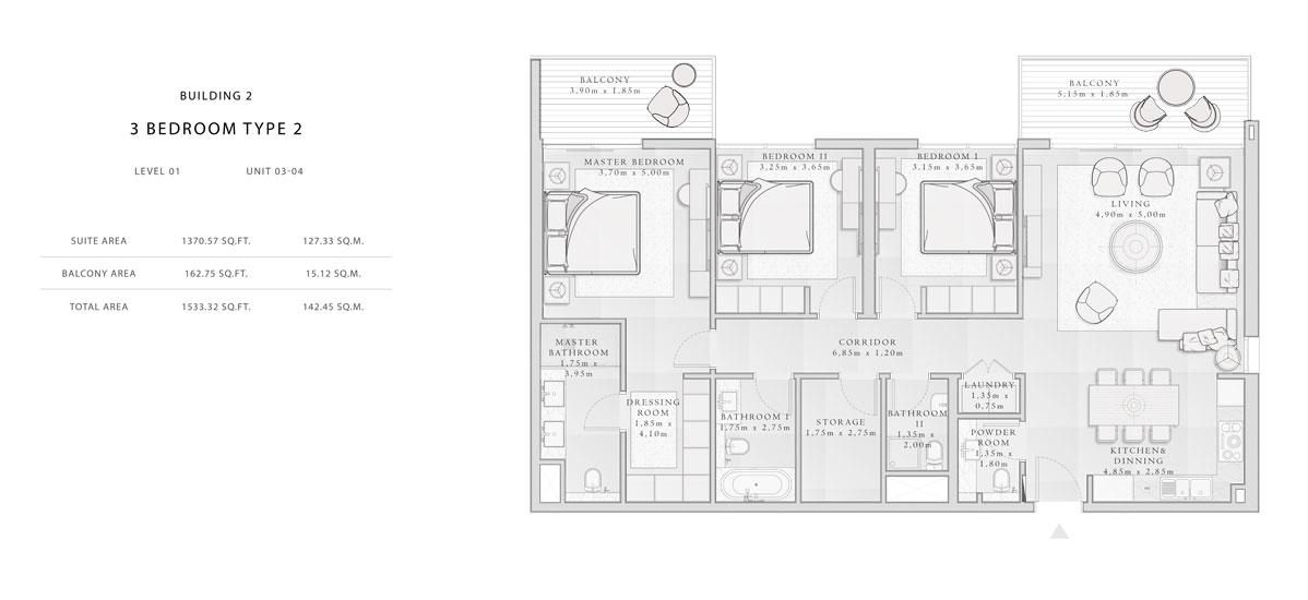 Building-2,3-Bedroom-Type-2,Size -1533.32 - sq.ft