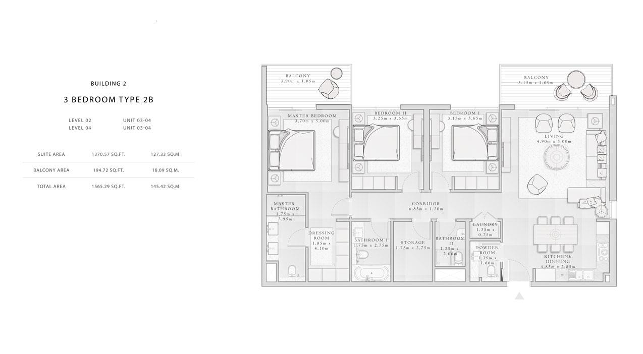 Building-2,3-Bedroom-Type-2B,Size -1565.29 - sq.ft