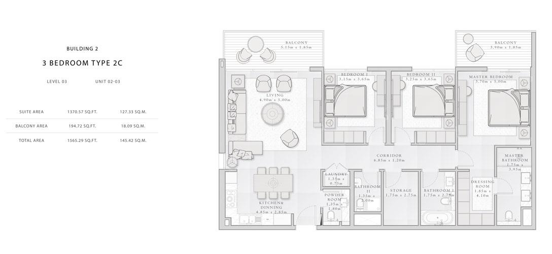 Building-2,3-Bedroom-Type-2C,Size -1565.29 - sq.ft