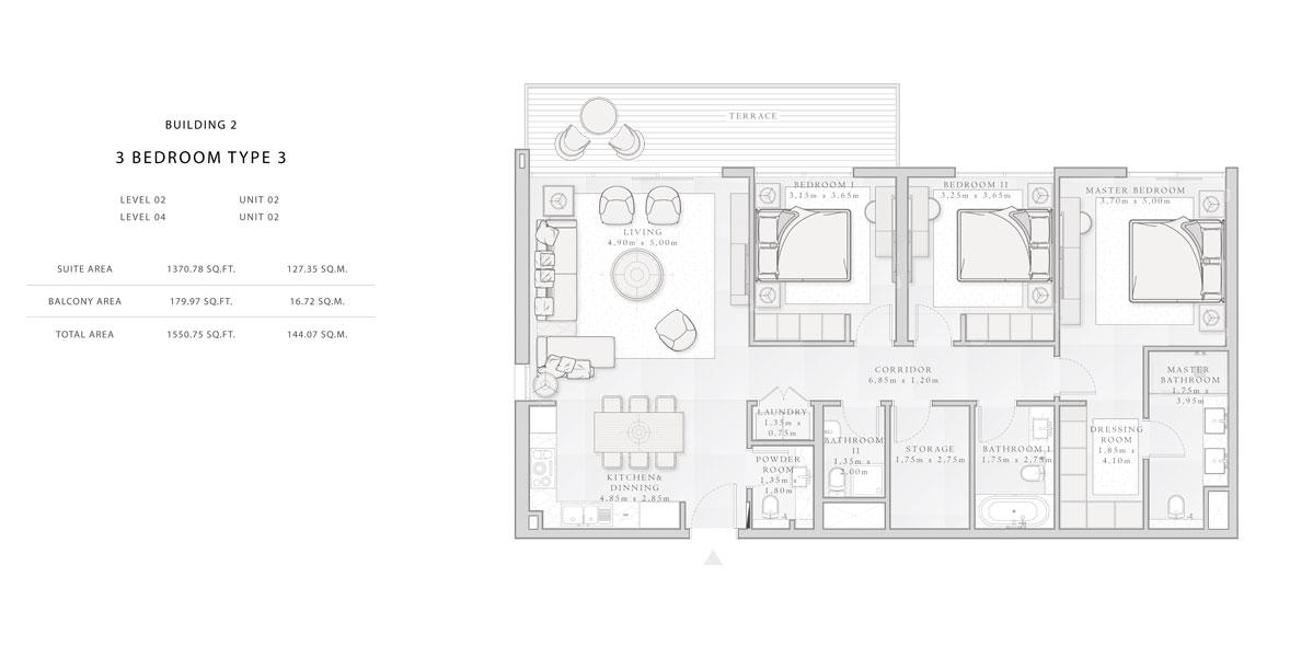 Building-2,3-Bedroom-Type-3,Size -1550.75 - sq.ft