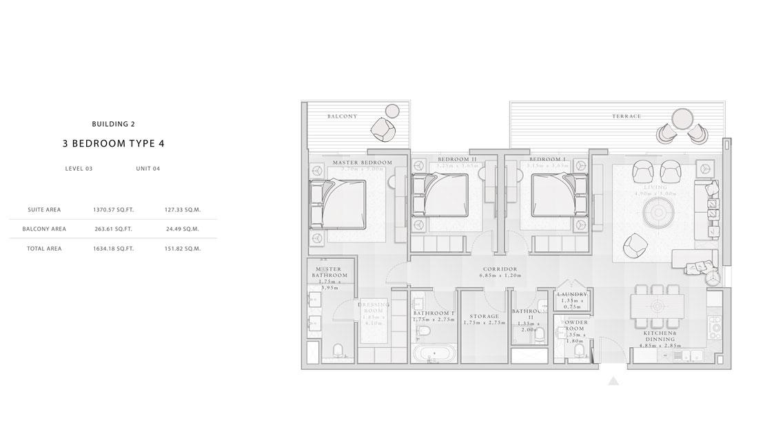 Building-2,3-Bedroom-Type-4,Size -1634.18 - sq.ft