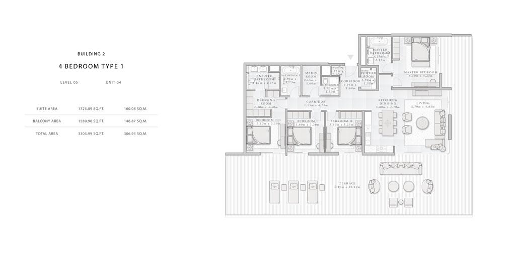 Building-2,4-Bedroom-Type-1,Size -3303.99 - sq.ft