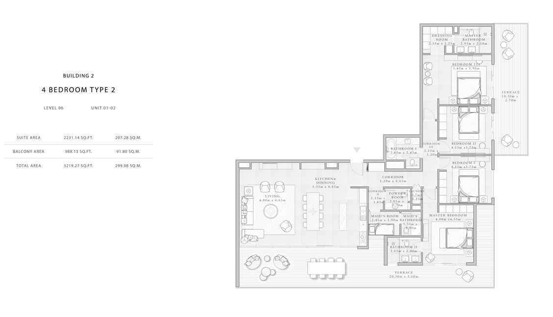 Building-2,4-Bedroom-Type-2,Size - 3219.27 - sq.ft