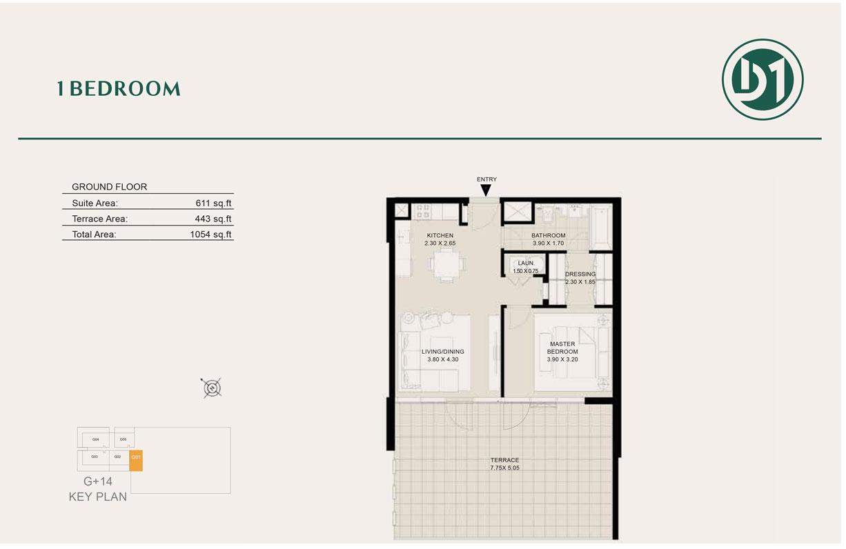 1 Bedroom, Ground Floor, Size 1054 sq ft