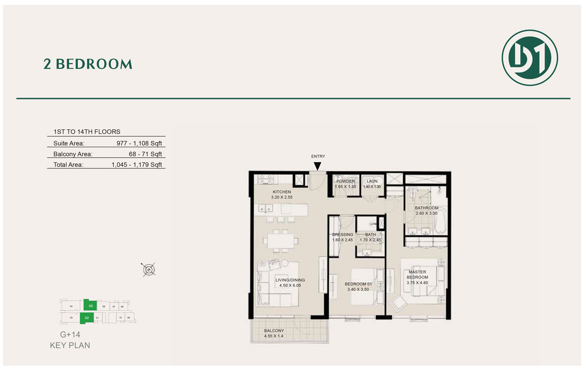 2 Bedroom, 1st to 14th Floor , Size 1179 sq ft