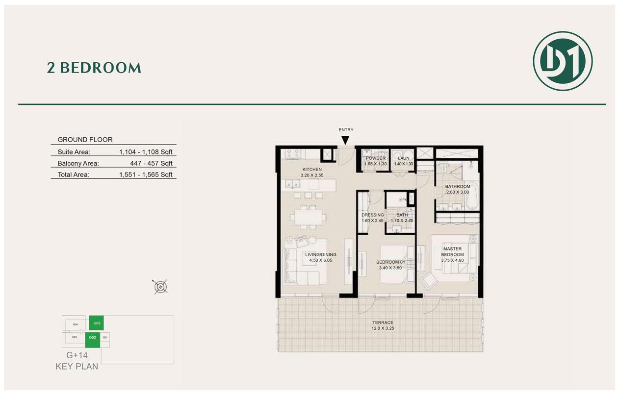 2 Bedroom, Ground Floor, Size 1565 sq ft