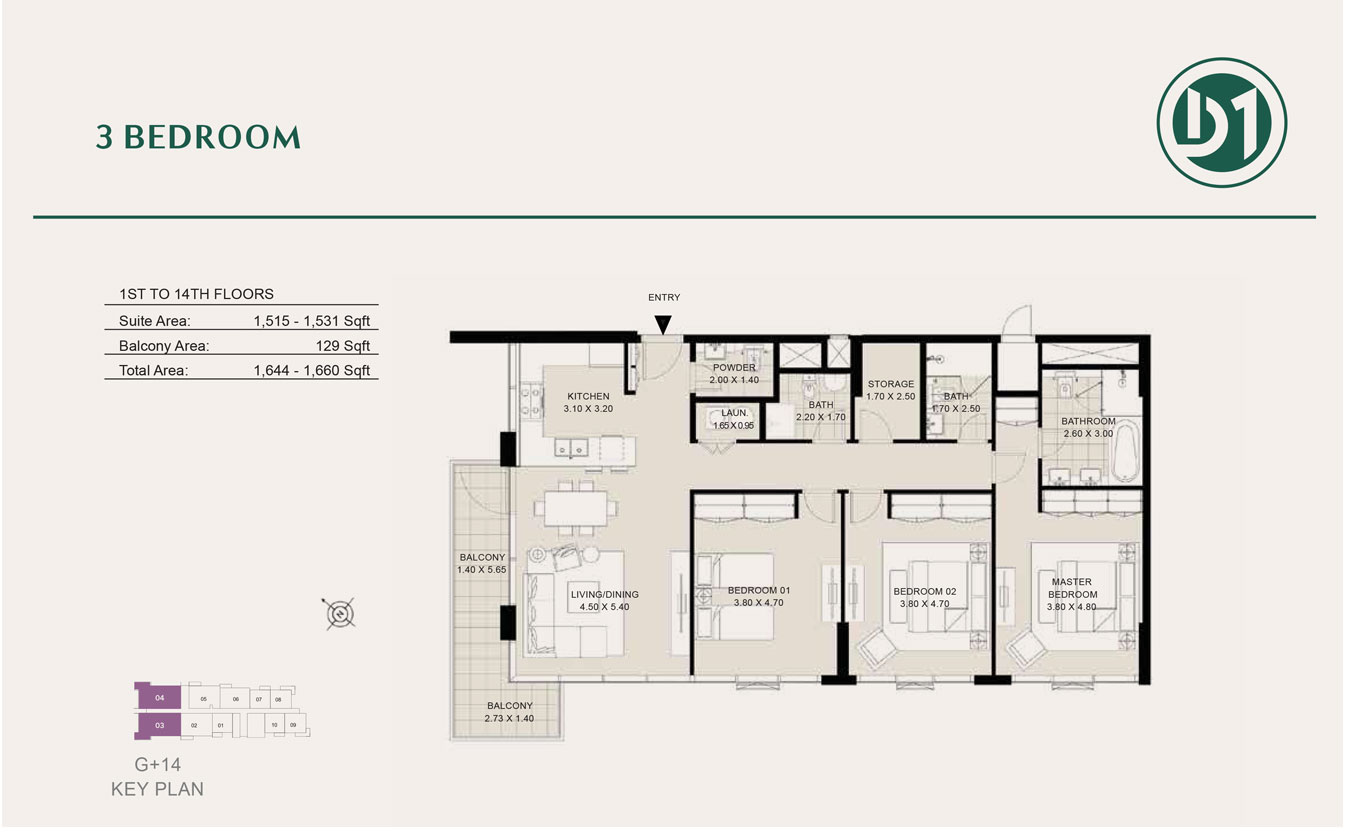 3 Bedroom, 1st to 14th Floor, Size 1660 sq ft