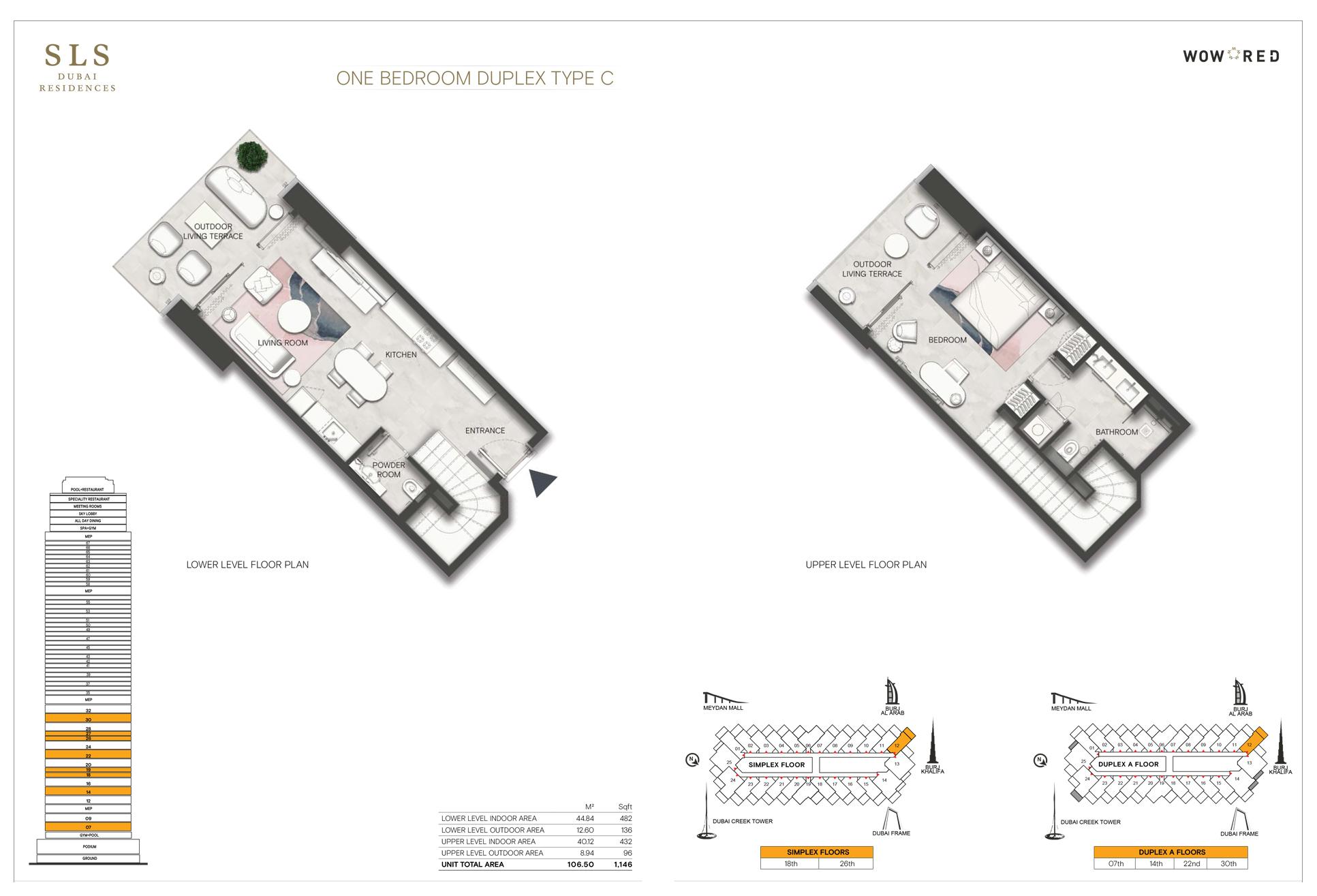 1 Bedroom Duplex Type C Size 1146 sq.ft