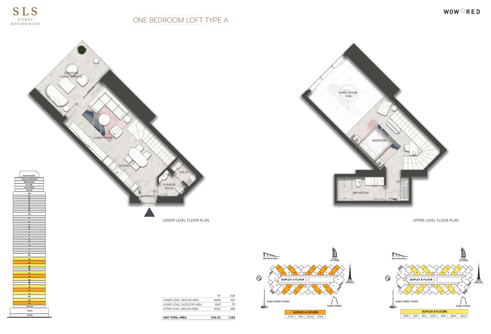 1 Bedroom Loft Type A Size 1163 sq.ft