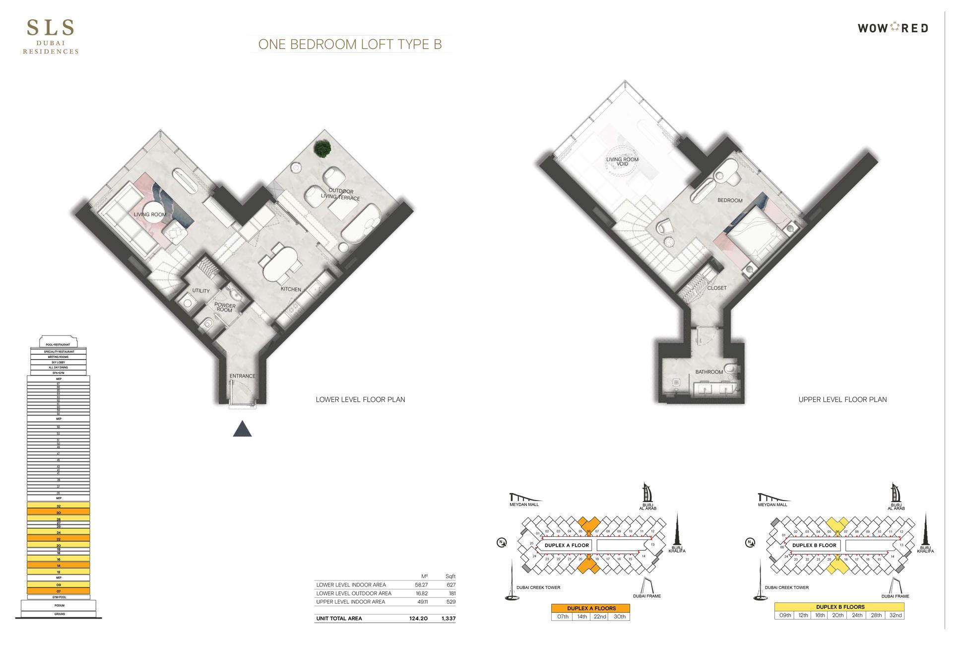 1 Bedroom Loft Type B Size 1337 sq.ft