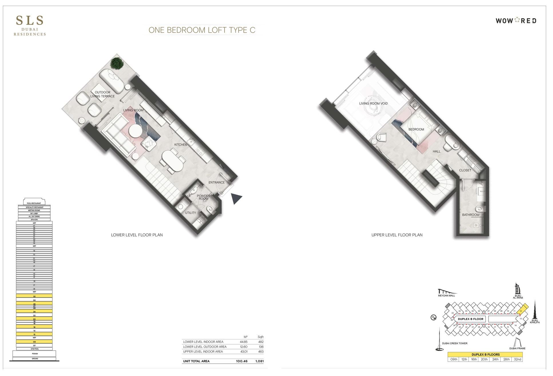1 Bedroom Loft Type C Size 1081 Sq.ft