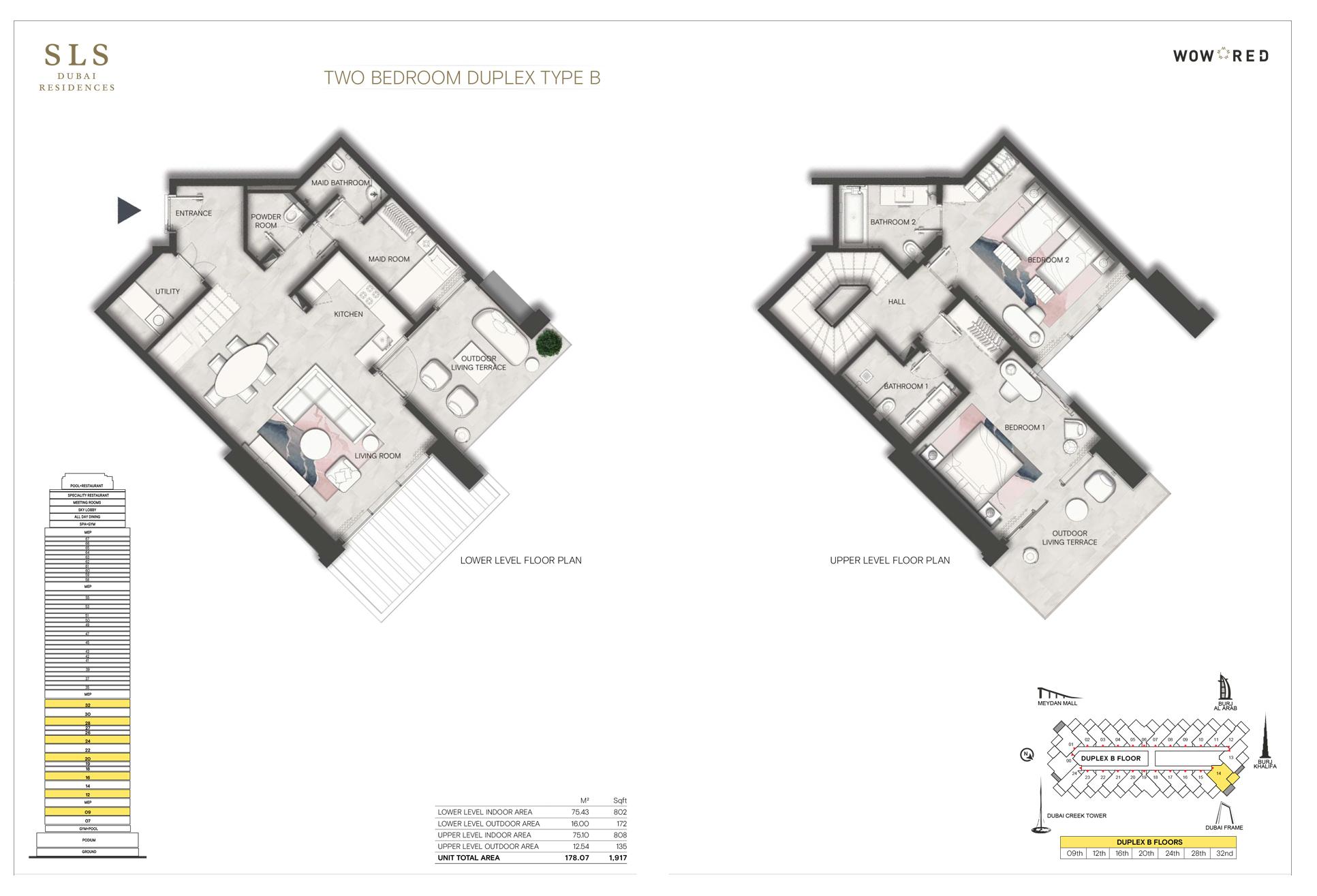 2 Bedroom Duplex Type B Size 1917 sq.ft