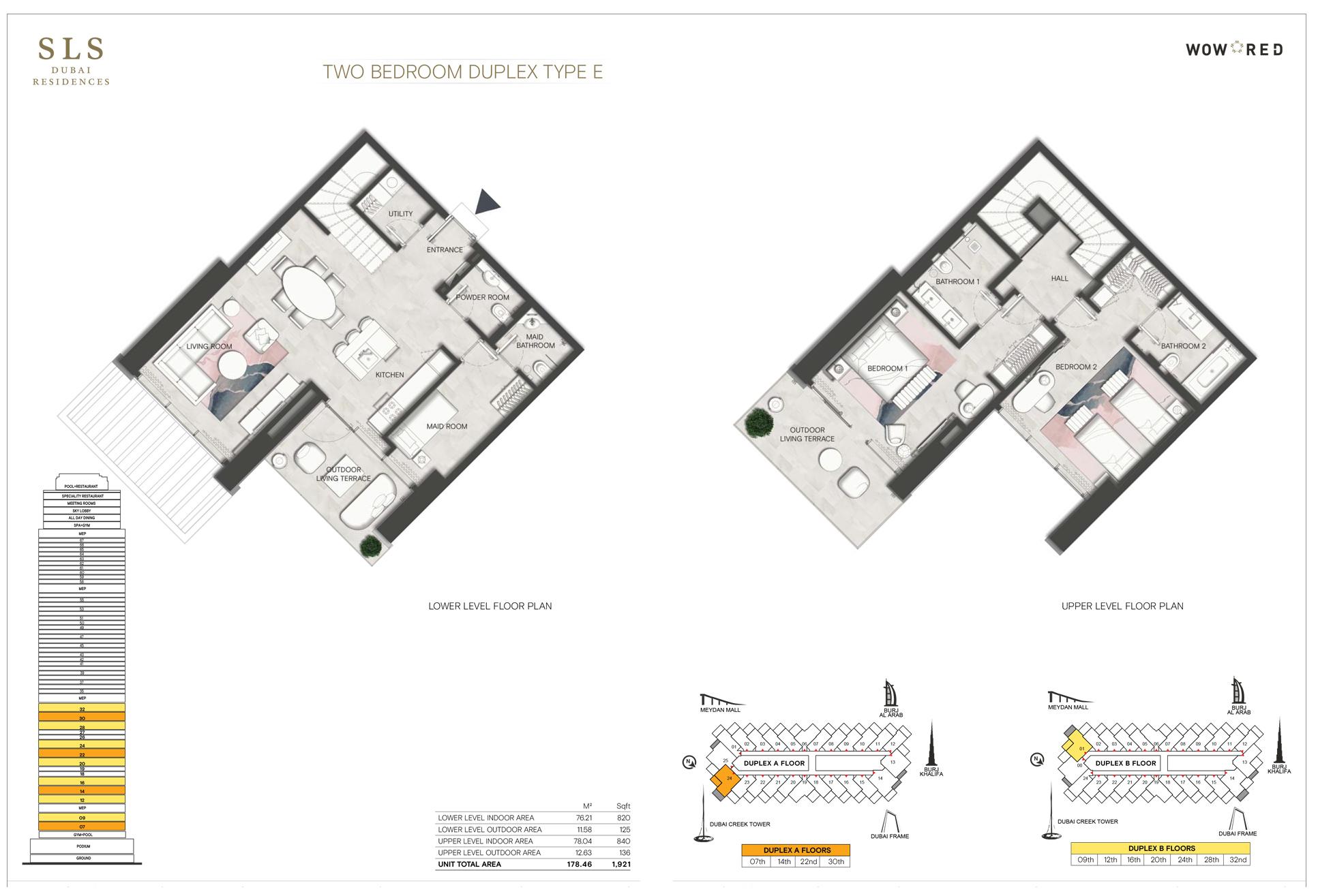2 Bedroom Duplex Type E Size 1921 sq.ft
